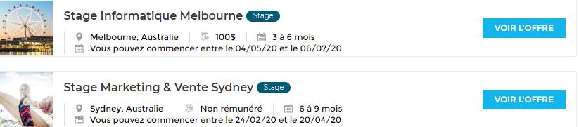 Combien est rémunéré un stage en Australie ?